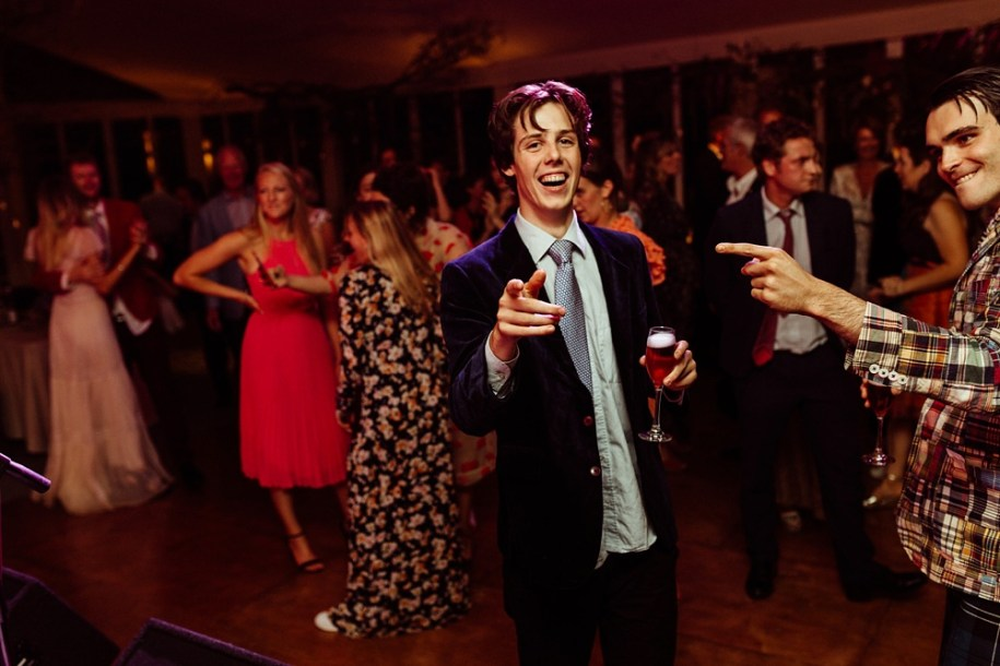 wedding guests having fun on the dance floor at New Forest wedding