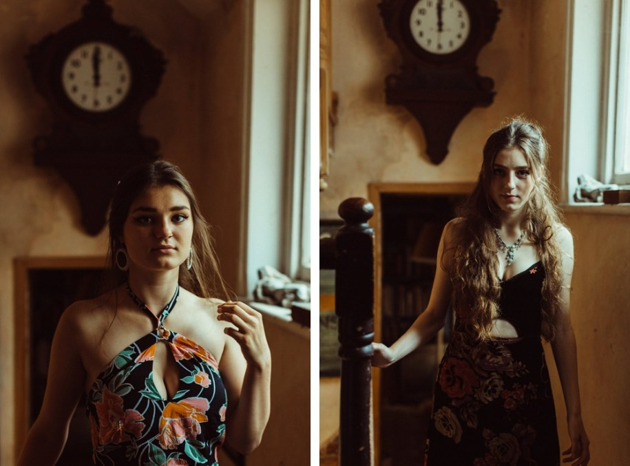 portraits of bridesmaids by the window light in the morning