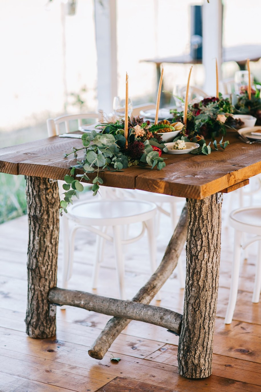 wooden wedding reception table