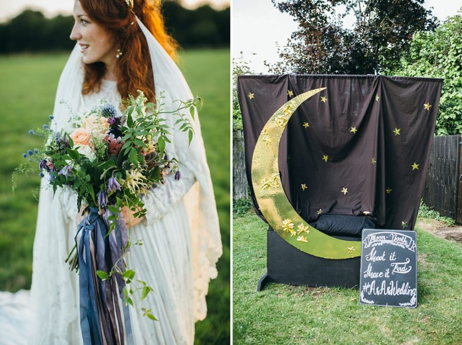 ginger bride holding a bouquet and a moon photo booth