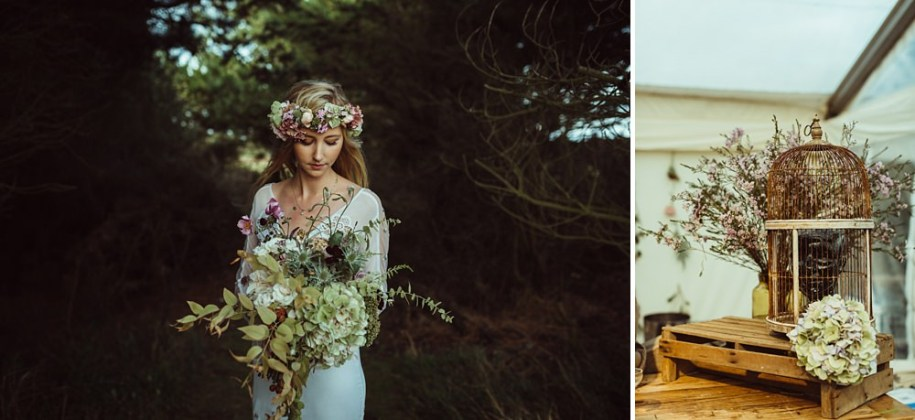 wild and creative wedding bouquet for outdoor wedding in New Forest