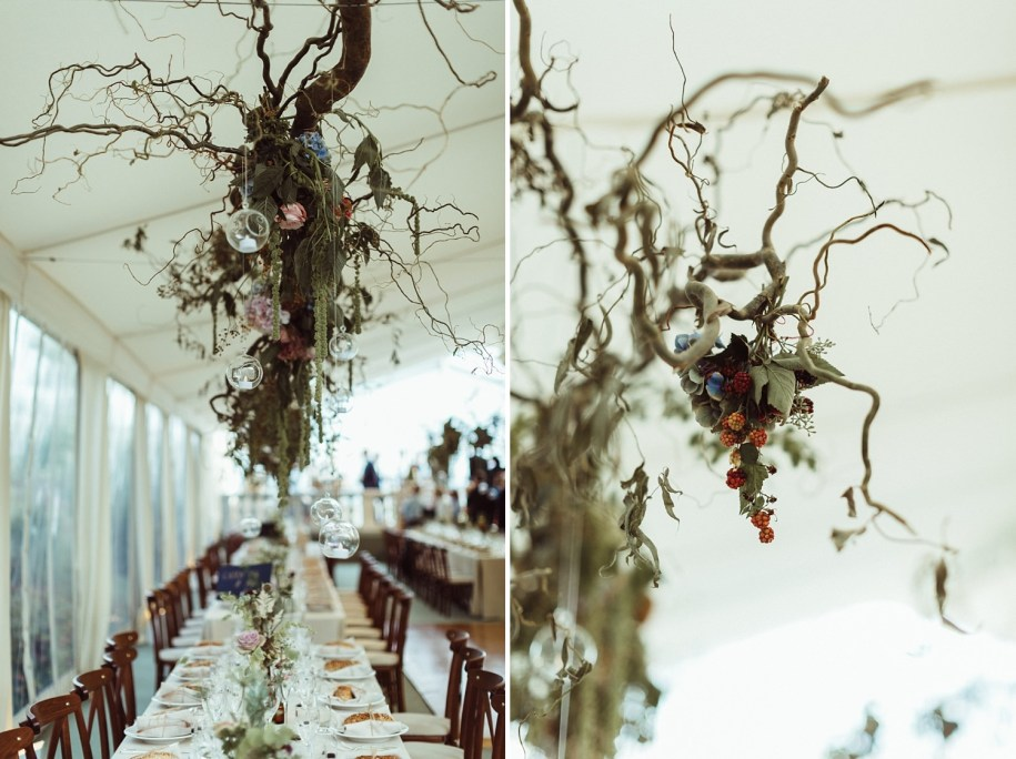 branches hanged from the ceiling at reception