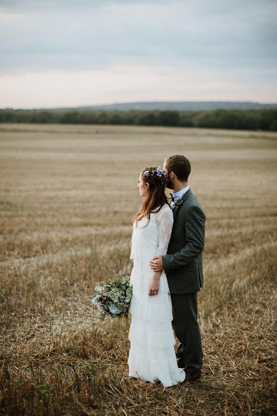wedding portraits at Sunset during Wanborough Great Barn Wedding