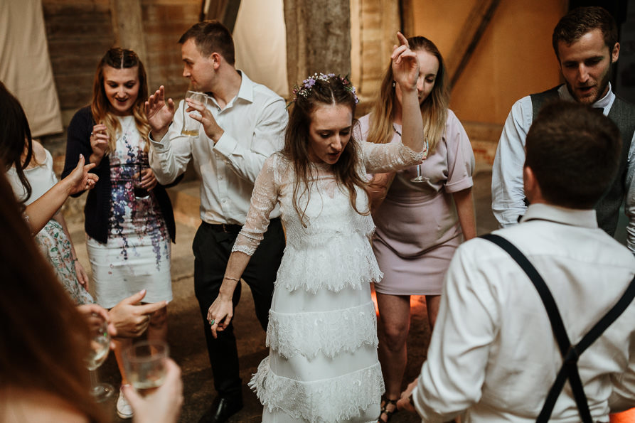 Wanborough Great Barn wedding party
