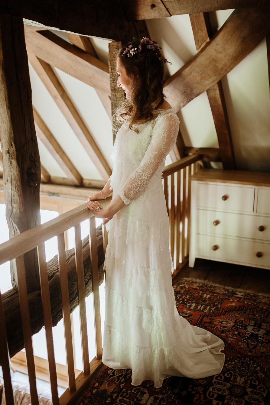 bride in her erin fetherston wedding dress