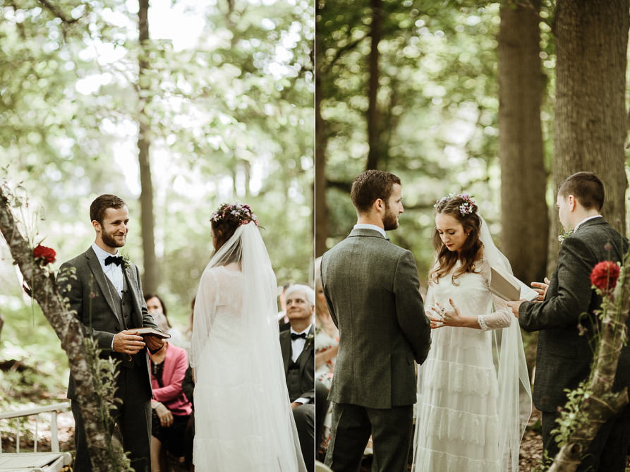 bride and groom vows by Surrey wedding photographer