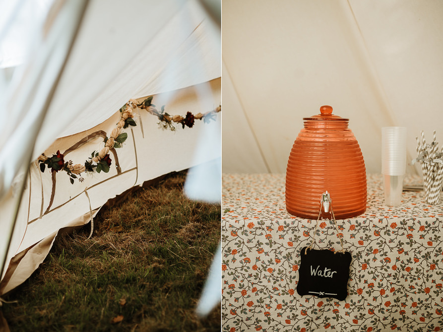 bell tent with canapés for forest wedding