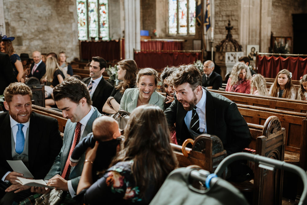 guests chatting in church
