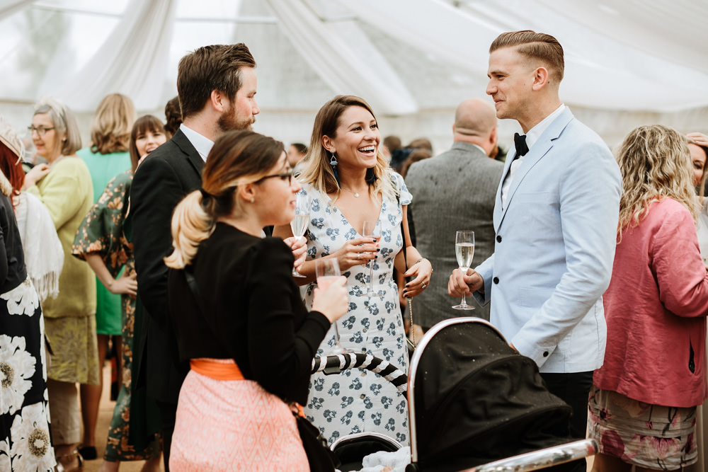 guests chatting during reception time