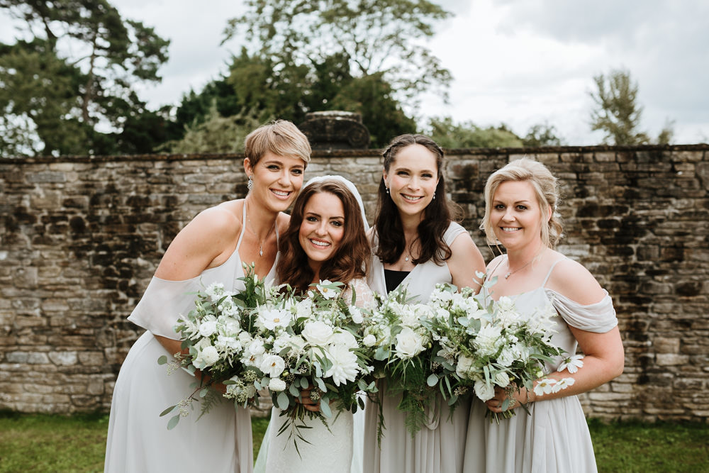 bridesmaids and bride for dorset wedding