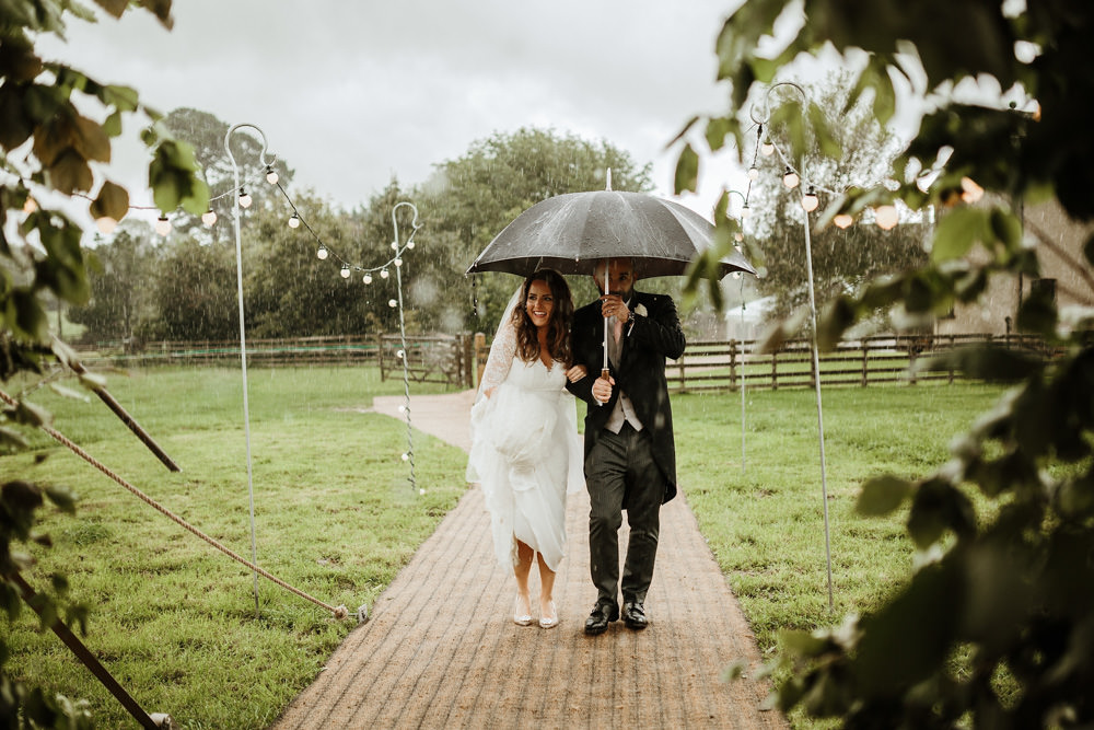 rainy day wedding in dorset