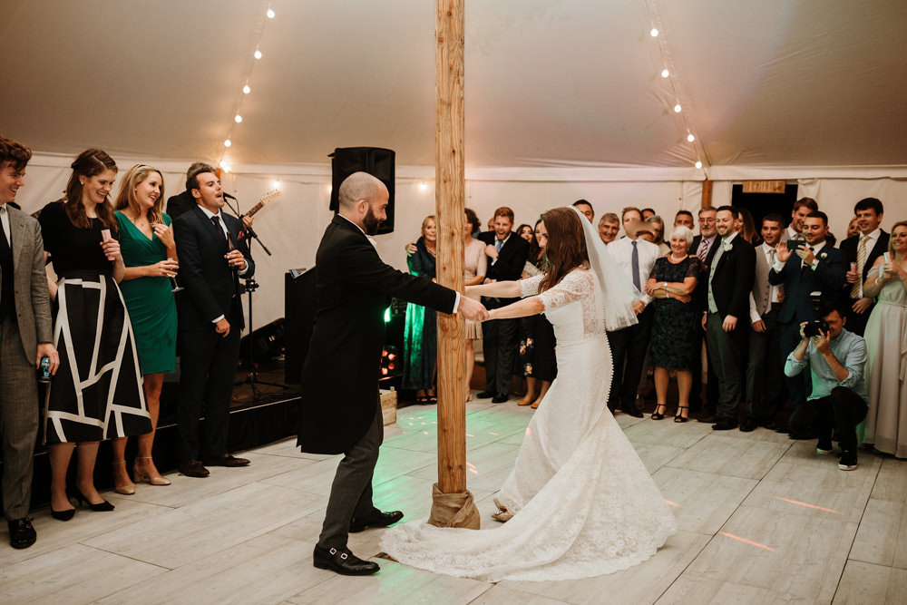 first dance during marquee wedding