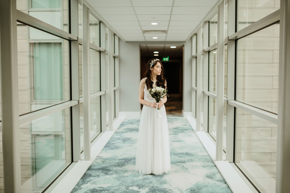 bride in the hotel for her wedding prep