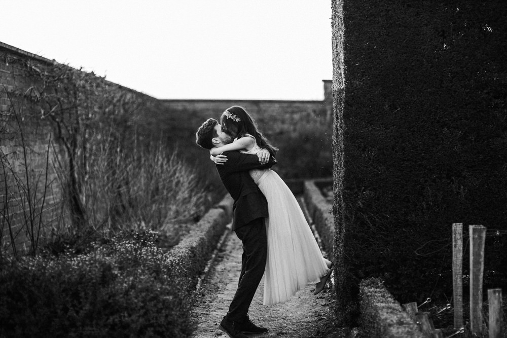 black and white image by Bristol wedding photographer at The Ethicurean restaurant