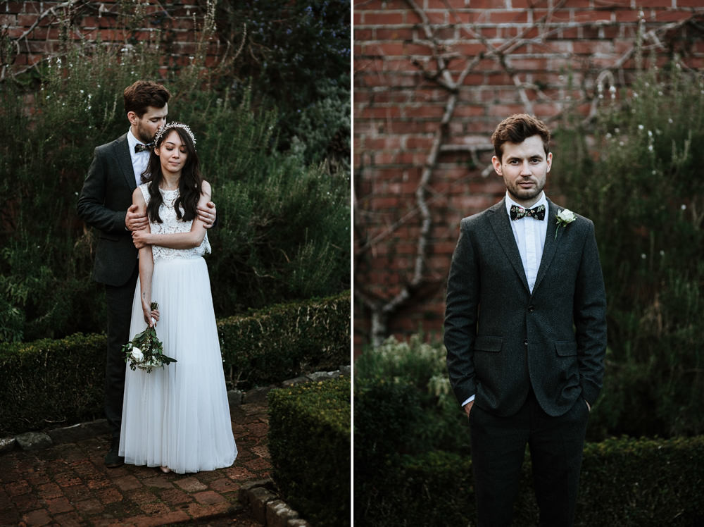wedding portraits during reception at the ethicurean restaurant Bristol