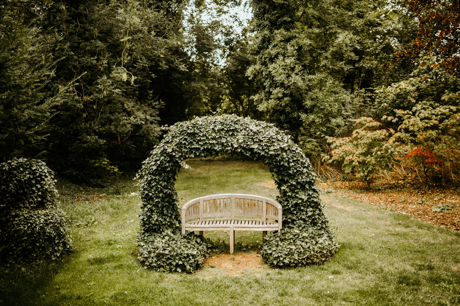 beautiful bench in the gardens of Cripps barn with greenery around