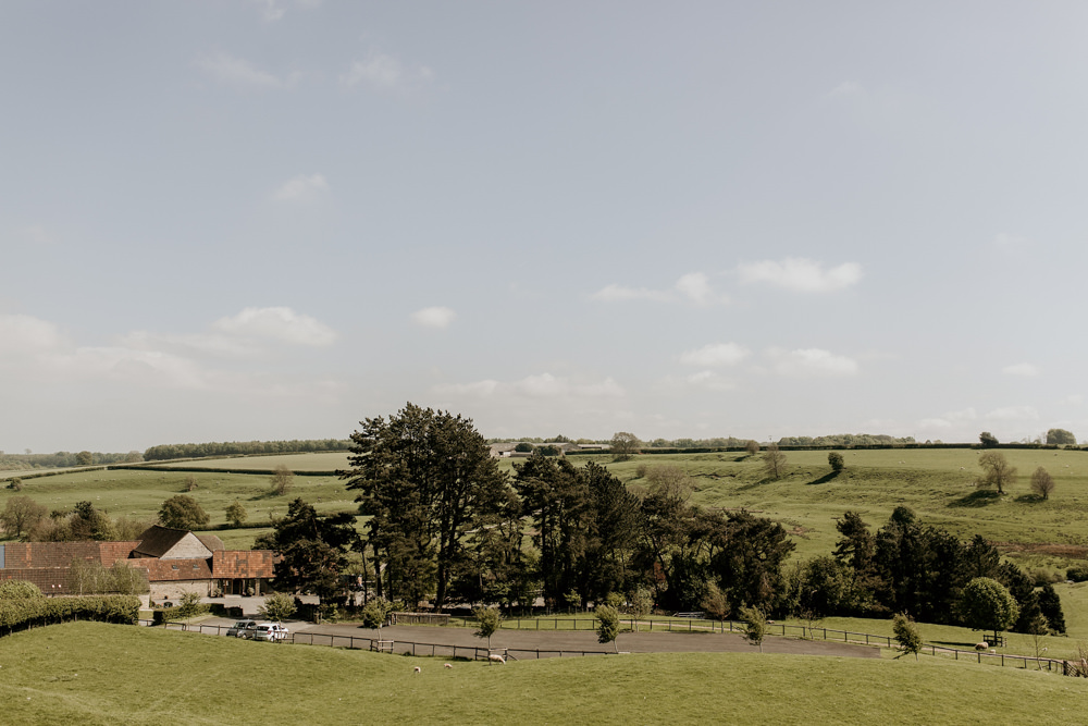 view of the Cotswolds from Kingscote Barn Venue