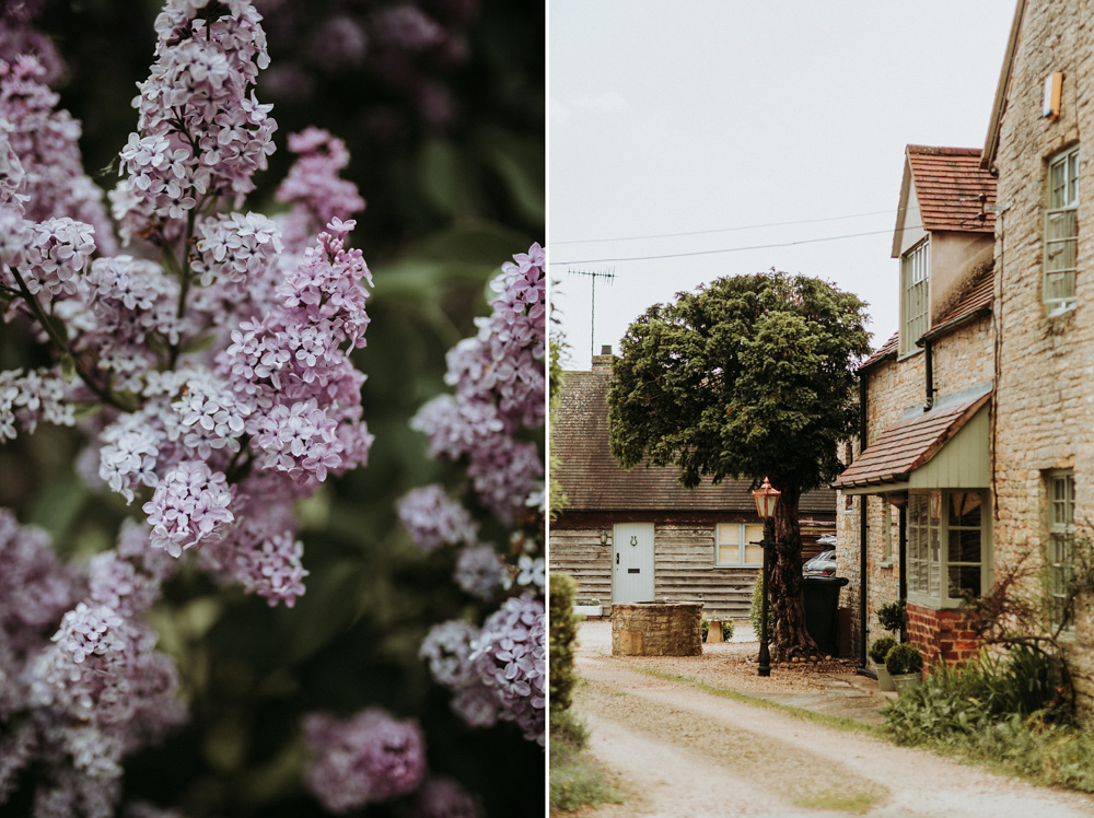 lilac flowers in the Spring and stone houses by Cotswolds wedding photographers