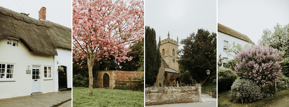 Spring blooming tree in the cotswolds countryside and Church in the village