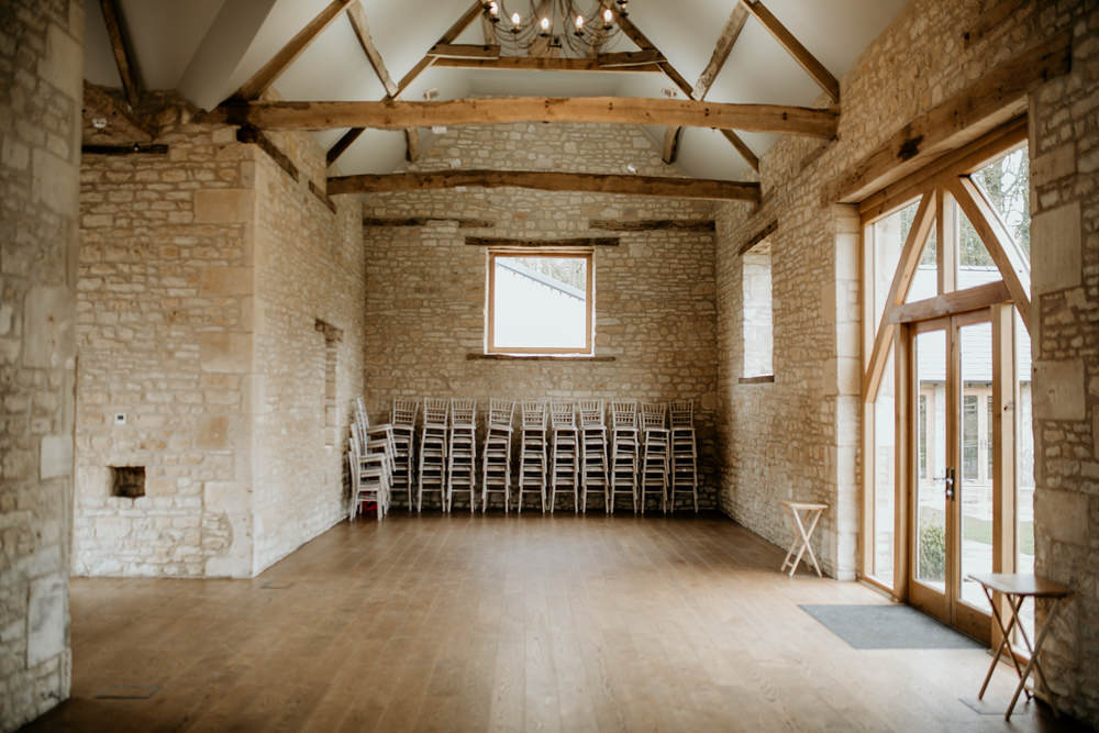 ceremony area at The Barn at Upcote Cotswolds wedding venue