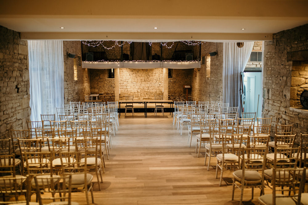 inside Cotswolds wedding venue The Great Thythe Barn