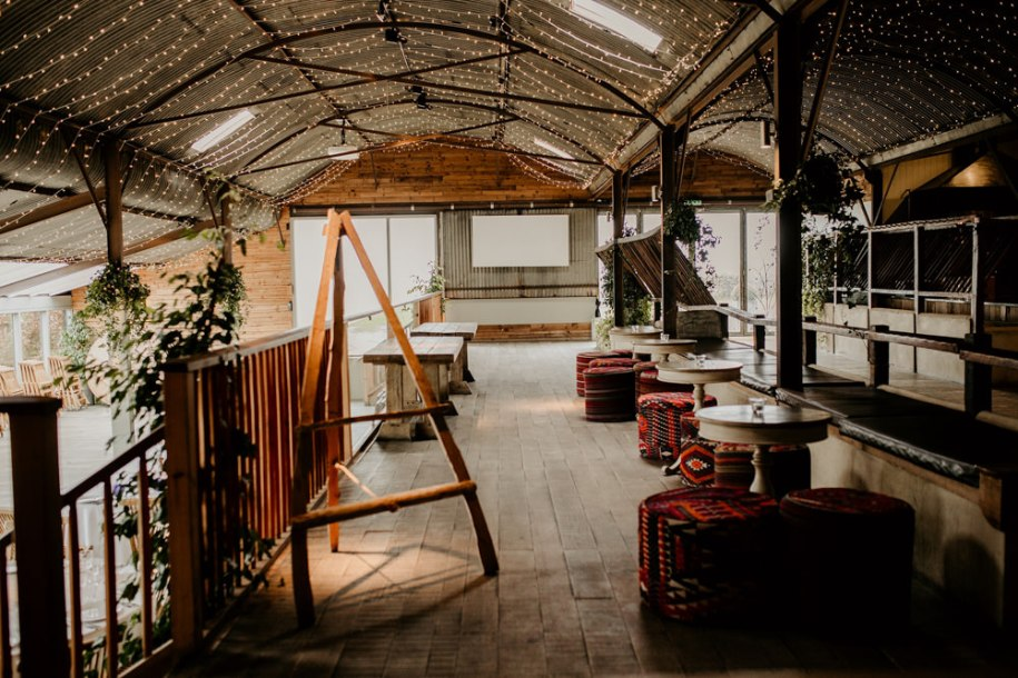 drinks area and wedding reception area at Stone Barn wedding venue Cotswolds