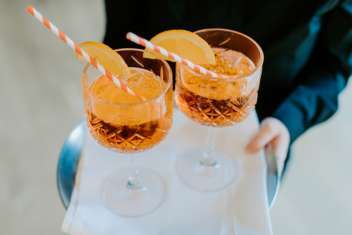 cocktails being served at Hyde house during a wedding reception