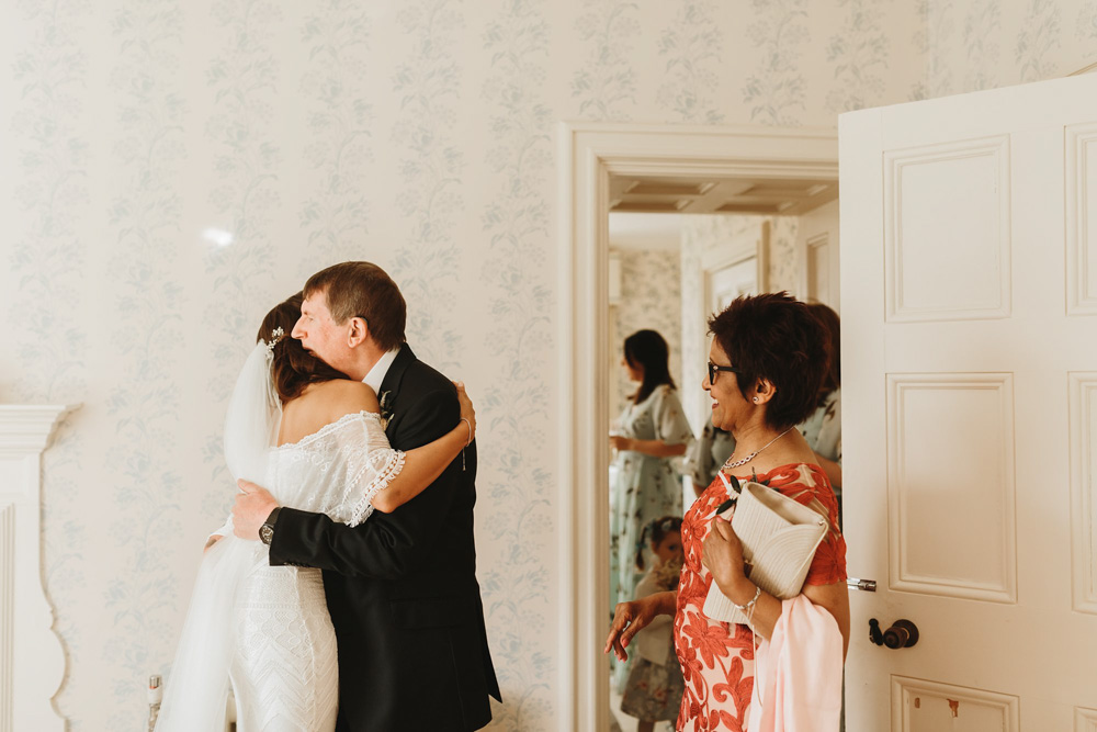 father and bride first look at Plas Dinam Country House