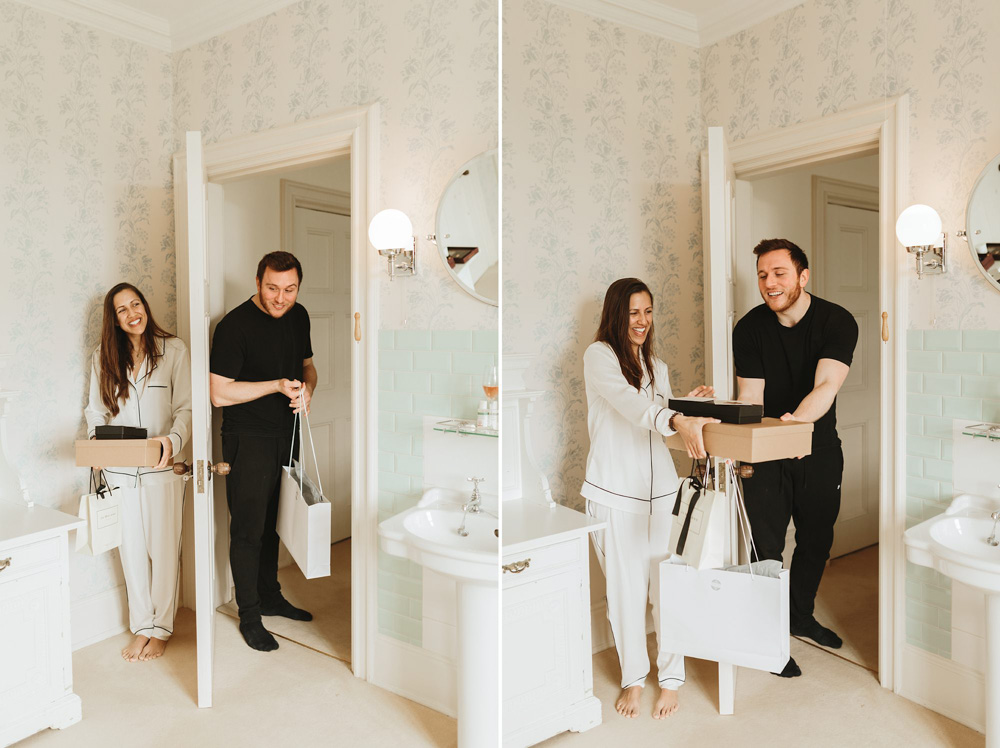 bride and groom exchange gifts on the morning of the wedding at Plas Dinam Country House
