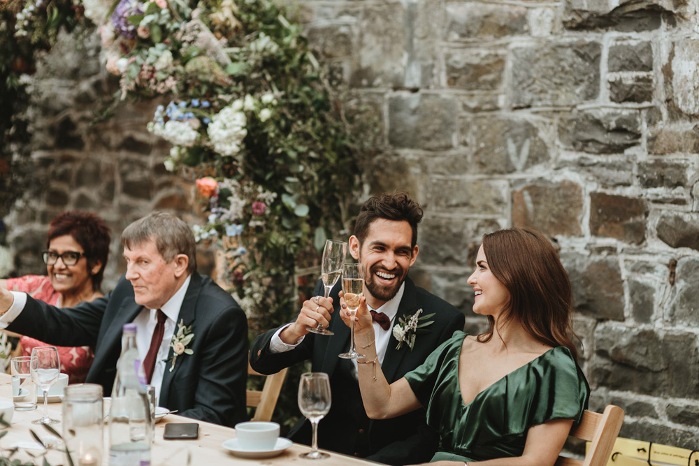 guests toast at plas dinam country house wedding reception