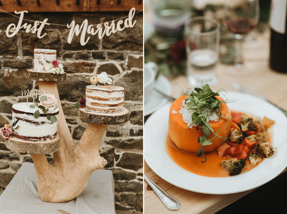 naked wedding cake and main course at plas dinam country house wedding reception