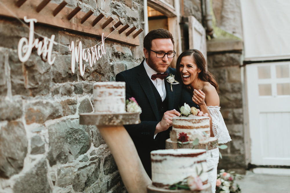 bride and groom cake cutting at plas dinam country house wedding reception