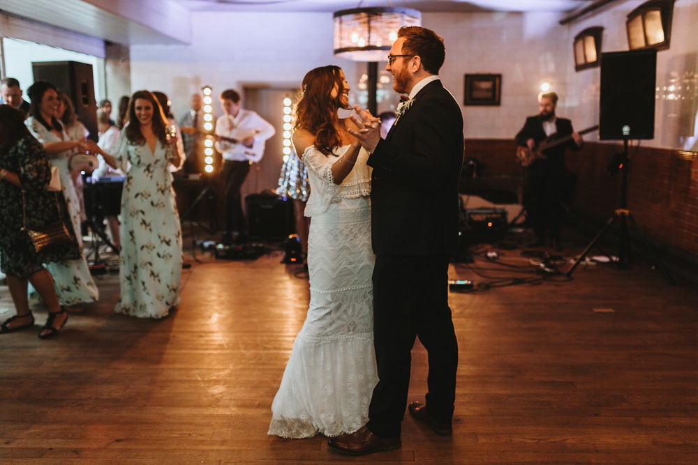 first dance during plas dinam country house wedding reception in Wales
