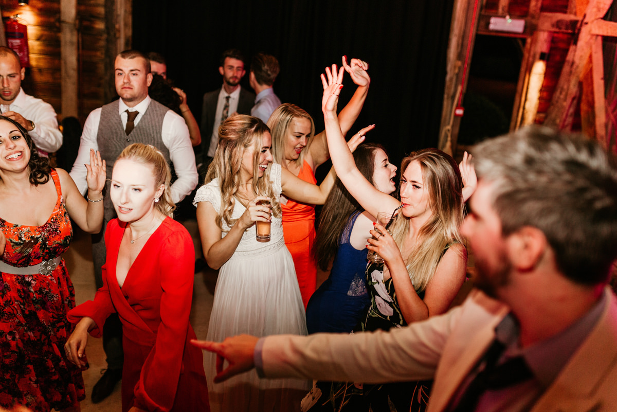guests during the wedding party at preston court wedding venue by Canterbury wedding photographers