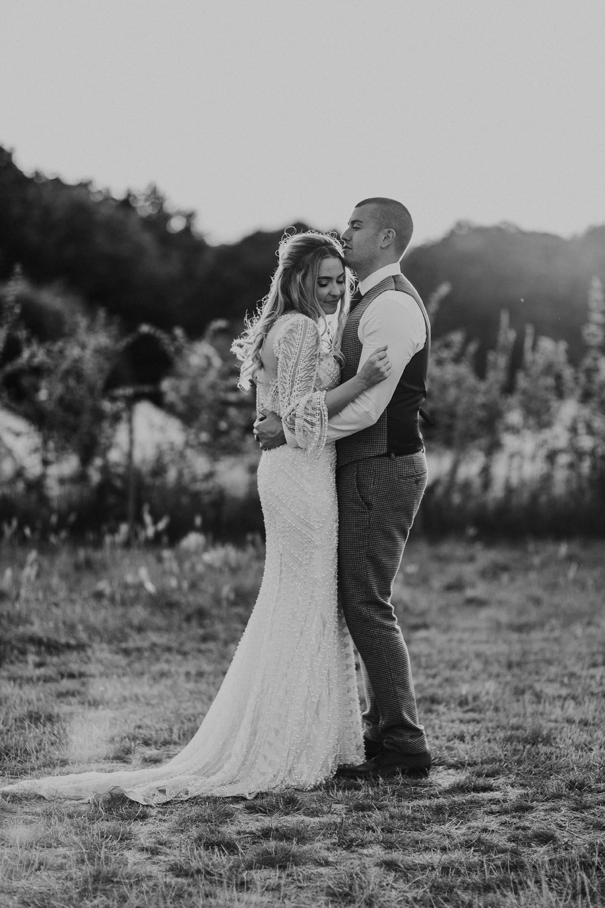 black and white image of bridal portraits at preston court wedding venue by Canterbury wedding photographers
