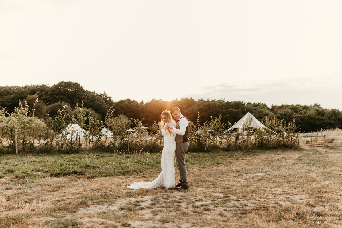 beautiful golden hour portraits for bride and groom at preston court wedding venue by Canterbury wedding photographers