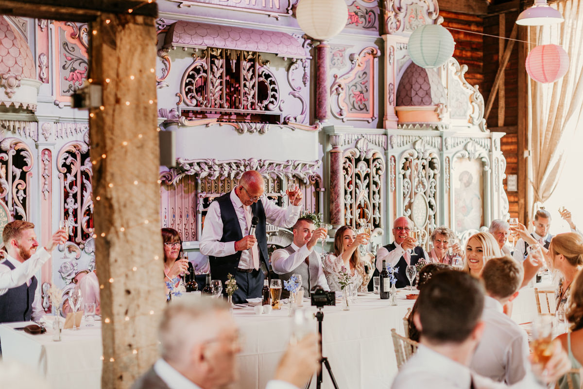 father of the bride wedding speech during the reception at preston court wedding venue by Canterbury wedding photographers