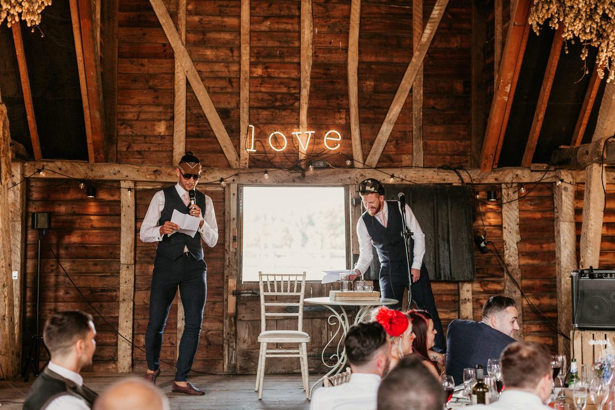 groomsmen speech during the wedding reception at preston court wedding venue by Canterbury wedding photographers