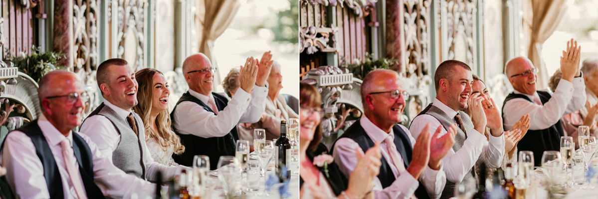 guests reaction to wedding speeches at preston court wedding venue by Canterbury wedding photographers