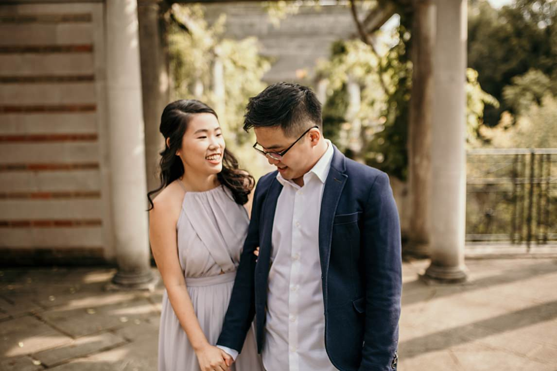 engaged couple at Pergola hill gardens london