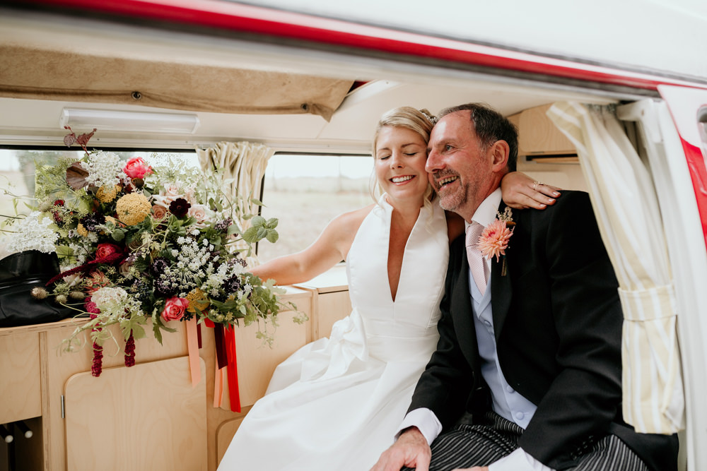 bride and father in a VW camper van in the morning, before the The Kennels Goodwoodwedding