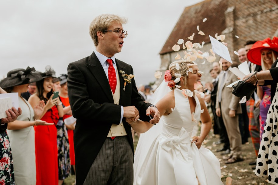 confetti shot after chichester wedding ceremony