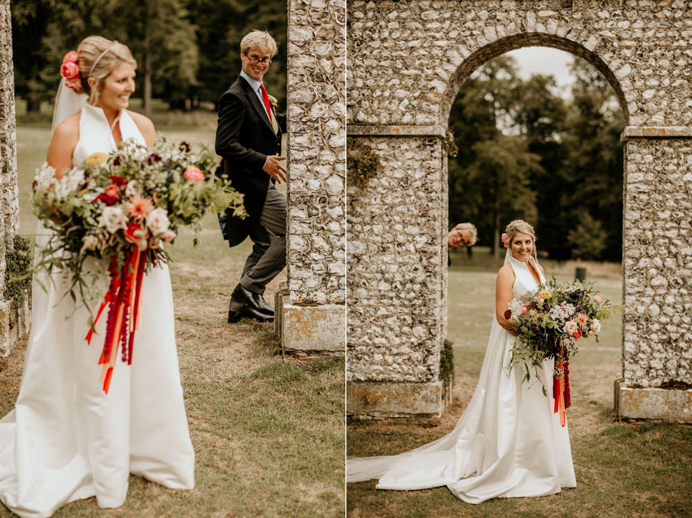 fun portraits at The Kennels Goodwood wedding venue england