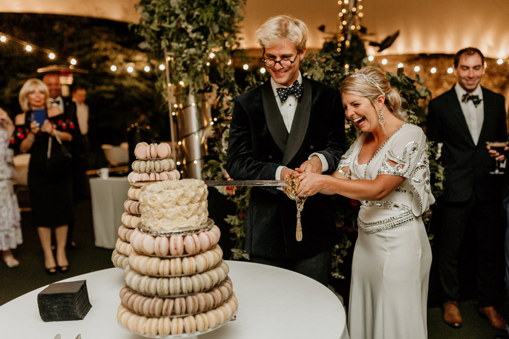 macaroons wedding cake at The Kennels Goodwood wedding venue Chichester by Green Antlers Photography