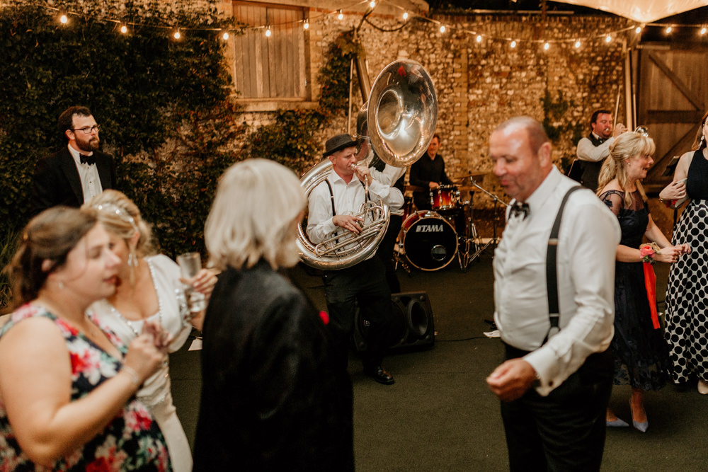 no limits street band during a wedding reception at The Kennels Goodwood wedding venue by chichester wedding photographer