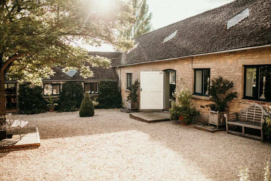 garden and patio area at Merriscourt Barn wedding venue by wedding photographer Cotswolds