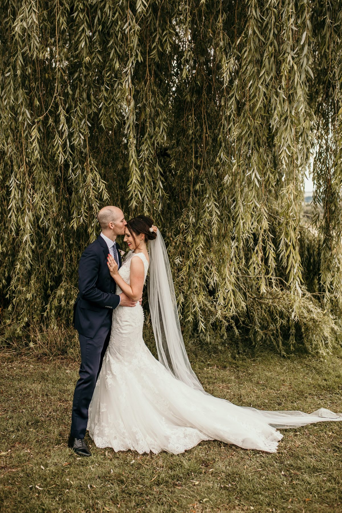 bride and groom wedding portraits at Merriscourt Barn Wedding venue by Cotswolds wedding photographer