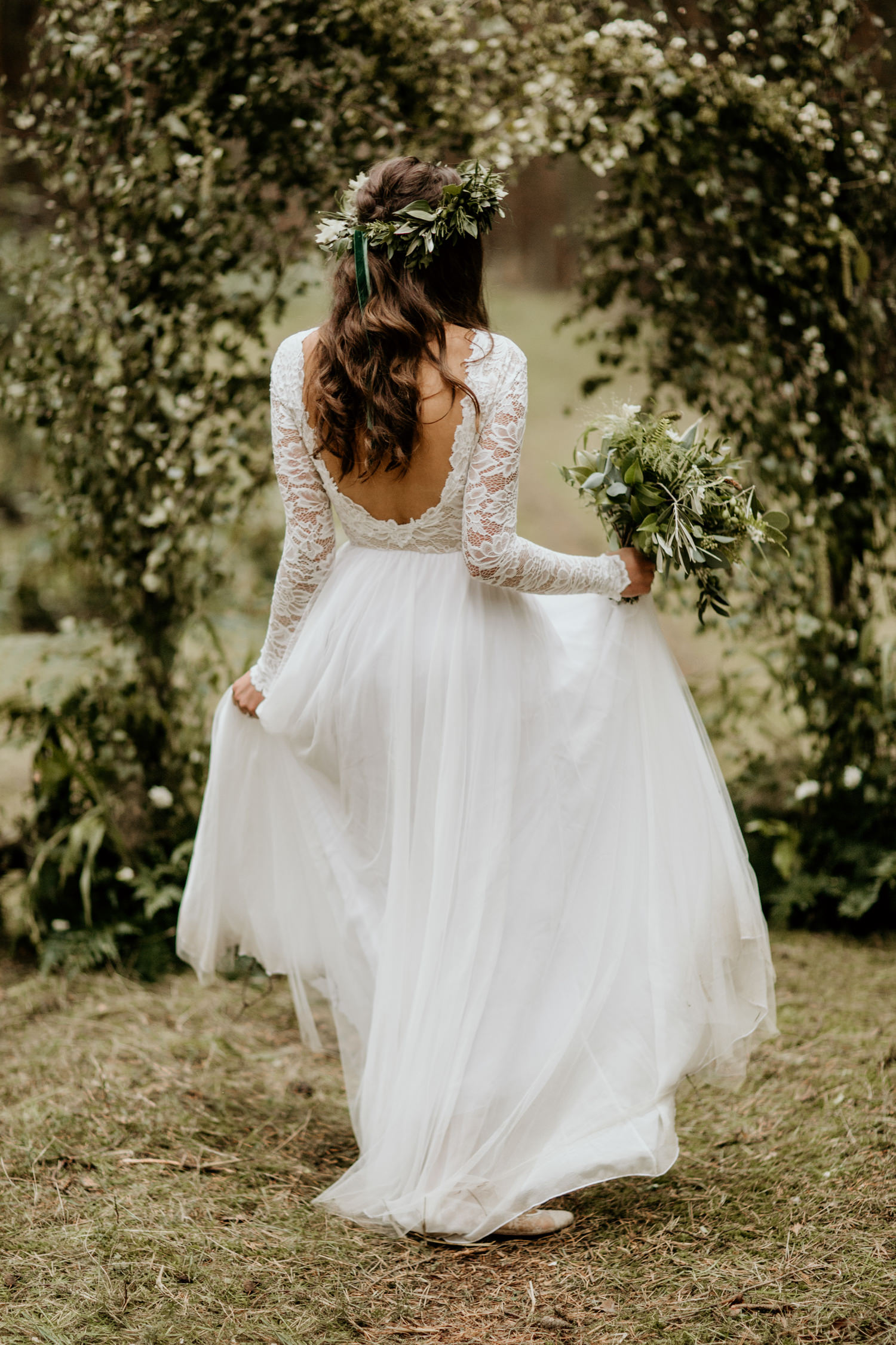 Wear your Love Ethical wedding dress for a forest elopement at Harvest Moon Holidays Scotland