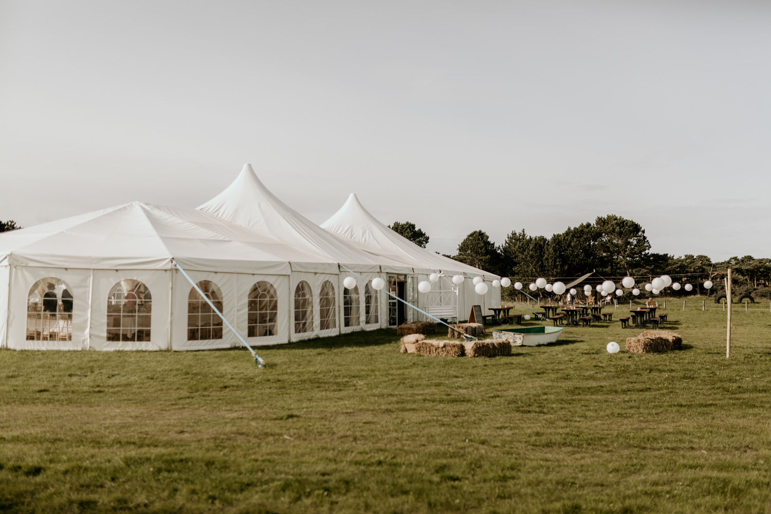 marquee on the field at Harvest Moon Holidays Scotland