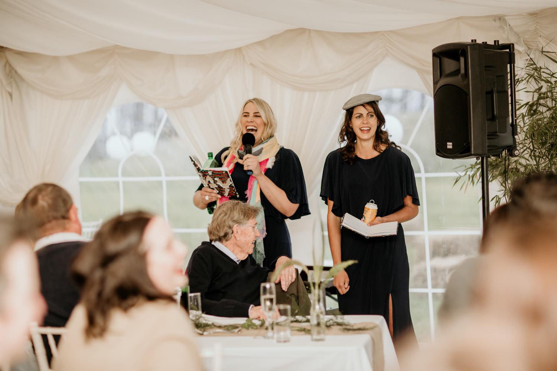 wedding speeches during an elopement at Harvest Moon Holidays Scotland